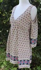 New Flirty Vintage V-Neck Cold Shoulder Sleeve Printed Dress M, L