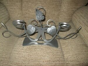 Large Metal Art Nouveau style Double CANDLE HOLDER with leaves