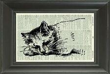 ORIGINAL - Cat - Vintage Dictionary Art Print - Animal Art Print - Picture 50D