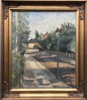 Stadtansicht Straße in Charlottenlund Gentofte Kopenhagen Malerin Frau Ölgemälde
