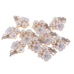 10x Pearl Rhinestone Flower Button Crystal Flatback Jewelry Ornaments White