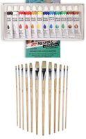 12 Acrylic Colour Tube with Brush Kit Color Paint Artist Set