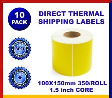 10x Direct Thermal 4x6 Labels 100 x150mm SATO Zebra Printer FLUORESCENT YELLOW