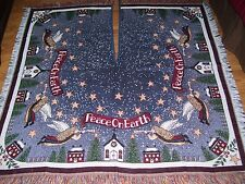 """Vintage Christmas Tree Skirt Tapestry Angels Square Fringed Large 50"""" x 50"""""""