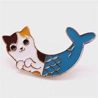 Fashion Women Cute Cat Fish Collar Pins Badge Corsage Cartoon Brooch Jewelry Hot