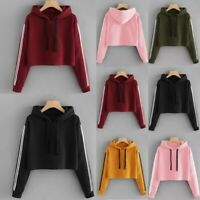 Women Lace Up Drawstring Long Sleeve Hooded Sweatershirt Hoodie Crop Tops Blouse