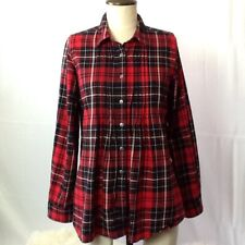 Ralph Lauren Girls Youth 14 Top Buffalo Plaid Flannel Red Pleated Blue Label