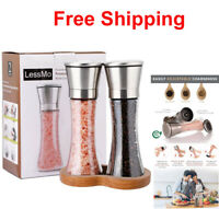 Salt And Pepper Shakers Adjustable Grinder Set Stainless Steel Mill Glass Spices