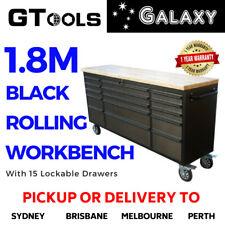 1.8M Heavy Duty Black Workbench Tool Chest Rolling Tool Box Trolley 15 drawers