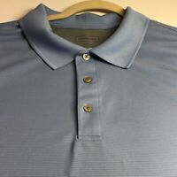Van Heusen Men Short Sleeve Polo Shirt 3XL Light Blue Ribbed Classic Fit Casual