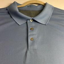 Van Heusen Men Short Sleeve Polo Shirt 3XL Light Blue Ribbed Classic Fit Casual