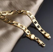 Gift Bag + 6 mm Wide 9k Yellow Gold Plated Classic Curb Bracelet Link Chain 6mm