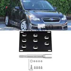 Front Bumper Tow Hook Hole License Mount Plate Bracket For Subaru Impreza 15-17