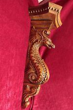 """21"""" Large Wooden wall shelf/Corbel/bracket Dragon.  Carved from alder wood."""