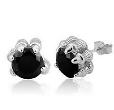 Men Sterlig Silver Black Agate Zirconia 10mm Stud Dragon Paw Earrings Gift Box