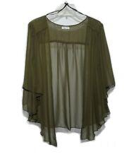 Womens OLIVE Green Plus Size 3X Chiffon Cardigan Bolero Shrug Top