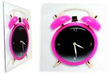 Retro Pink Pop Art Glass Alarm Clock Picture Glass Wall Clock/ Funky /UK