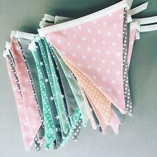 Fabric Bunting, Bunting flags, Pink/ Grey/ Blue/ Green bunting