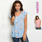 New Womens Floral Print Summer Top Shirt Casual Party Clothes Size 8 10 12 S M L