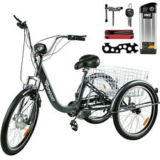"Adult Trike Tricycle 24"" Aluminium 3 Wheel - 7 Gears & Baskets - Electric"