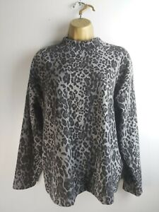 Marks And Spencer Size 10 Grey Mix Animal Print High Neck Top