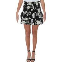 Aqua Womens B/W Smocked Floral Print Ruffled Mini Skirt M BHFO 1739