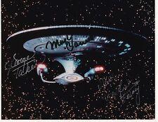 Star Trek USS Enterprise Autographed Signed by 4 Crew * Color 8x10 Photo * RARE
