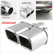 Universal Stainless Steel Dual Car Exhaust Tip Square Tail Pipe Muffler Trim 1PC