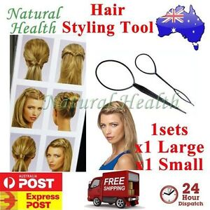 Hair Styling Tool x 2 *1 Large & 1 Small* Topsy Tail Ponytail Braid Ladies Girls