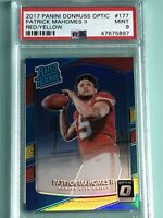 Chiefs QB Patrick Mahomes Rookie Card PSA 9 2017 Donruss Optic Red/Yellow