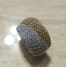 Adami & Martucci Sterling Silver Plated Two Tone Mesh Fabric Metal Band Ring