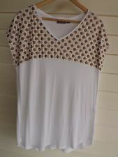 Sussan Women's White Top with Gold & Bronze Print - Size L