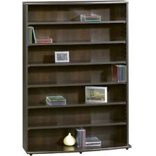 Dvd Storage Cabinet Media Shelf Tower Wood Cd Organizer Rack Movie Unit Stand