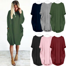 Womens Casual Loose Party Holiday Tops Pure Ladies Baggy Long Sleeve Midi Dress