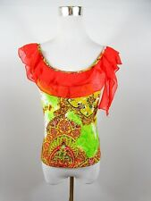 Women's Vtg Fashion Casual Frill Ruffle Embellish Sexy Party Scoop Top sz S BE12