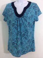 Croft  And Barrow Woemen Casual Top Turquoise Paisley Print Medium Cap Sleeve