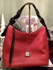 EUC Dooney Bourke Gracie Hobo Shoulder Bag Pebbled Leather RED & T'Moro Brown