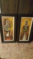 Pair of Picaro paintings of women