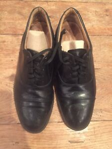 Black men's brogues formal leather lace up shoes UK8.5