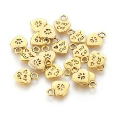 10 Paw Print Charms Word Pendants Heart Tags I Love My Cat Pet Lover