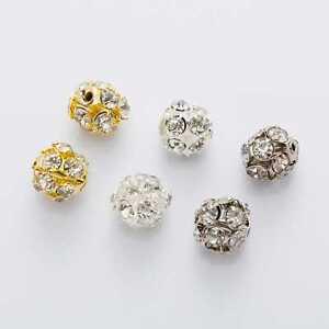 10 Piece Filigree Rhinestone Balls Round Spacers Beads Jewelry Making 6-14mm