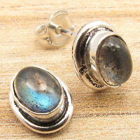 Blue Fire LABRADORITE, 925 Silver Plated Over Solid Copper, Small Stud Earrings