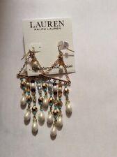 NWT Sample Lauren Ralph Lauren gold tone pearl drop  statement earrings m542