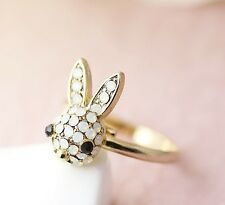 Bunny Ring Women Girl Crystal Rabbit Size Free Cute Girly Animal Lovely Gift
