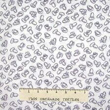 Wedding Fabric - Mr Mrs Silver Ring Band Toss on White - Benartex Kanvas YARD