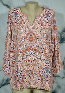 VIOLET & CLAIRE White Orange Blue Paisley Print Tunic Top 1X 3/4 Flared Sleeves