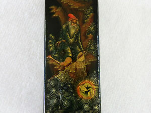 Miniature Russian Lacquer Box Old Man & Gold Fish Nanex Kholui Palekh Fairy Tale