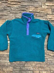 Vtg Girls Patagonia T Snap Fleece Pullover Sz M Green Purple Plush
