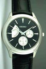 Seiko Dress Black Leather Band Men's Watch SNT005P1