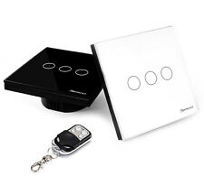 Sesoo REMOTE Touch switch 3 Gang / Glass Panel Black